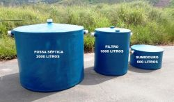 Fossa séptica, filtro anaeróbico e sumidouro em fibra de vidro saneamento básico ambiental BH Belo Horizonte